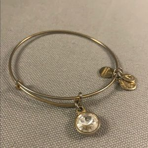 Alex and ani gold charm bracelet with clear stone